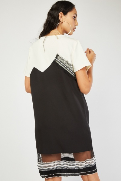 Pearl Encrusted Lace Contrast Shift Dress