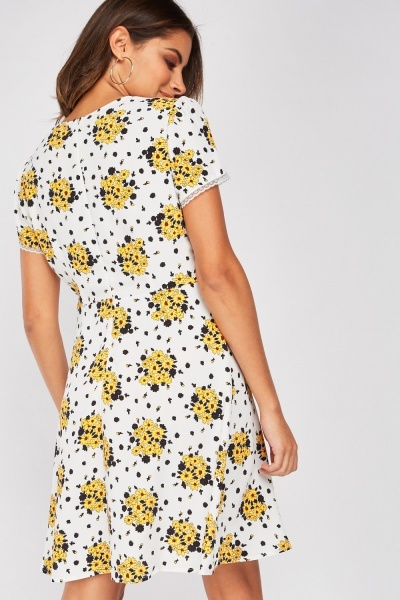 Printed Lace Trim Tea Dress
