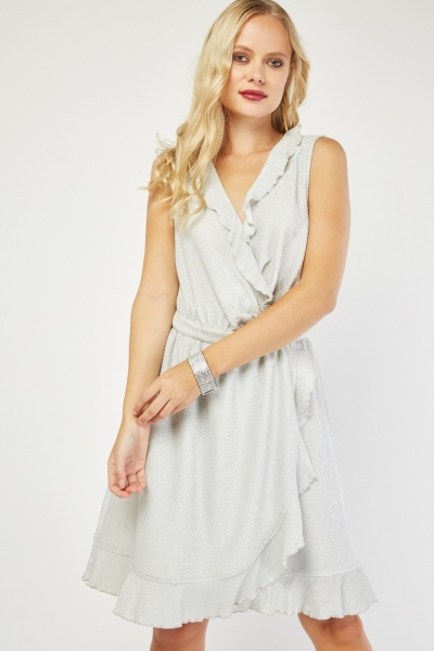 Sleeveless Ruffle Lurex Wrap Dress