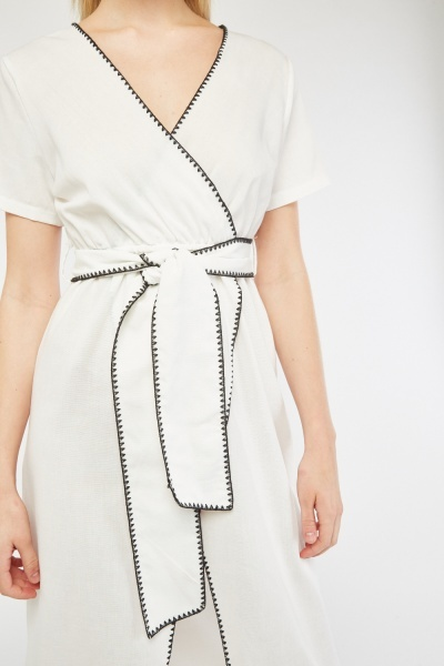 Stitched Edge Midi Wrap Dress