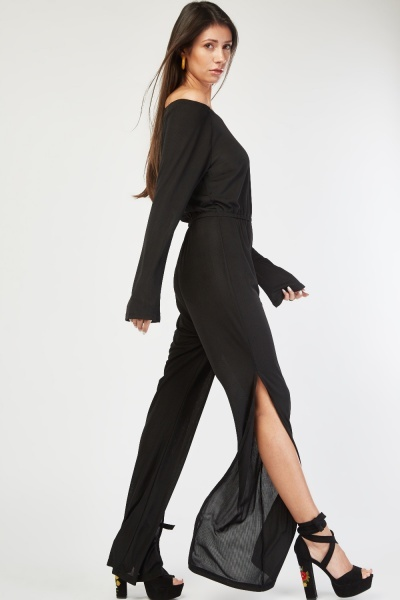 Ribbed Off Shoulder Jumpsuit
