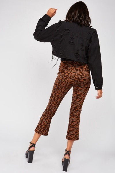 Tiger Print Crop Trousers