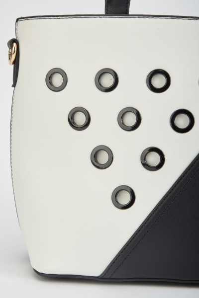 Eyelet Trim Monochrome Tote Bag