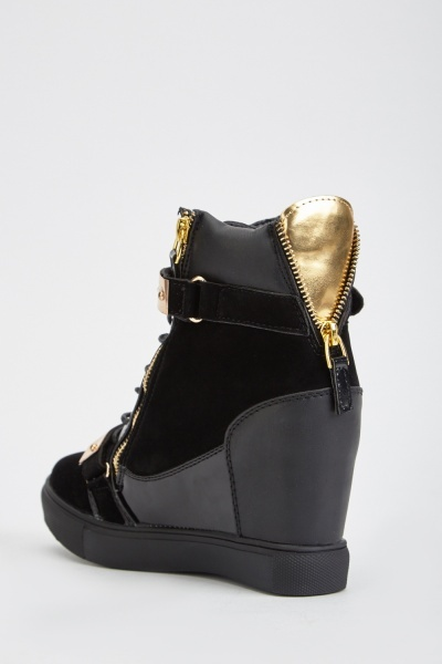 Metallic Suedette Wedge Shoes