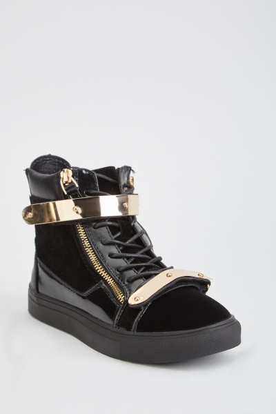 Zipper Metal Trim Sneakers
