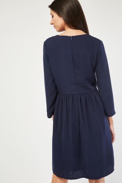 Button Insert Swing Dress