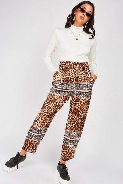 Contrasted Animal Print Trousers
