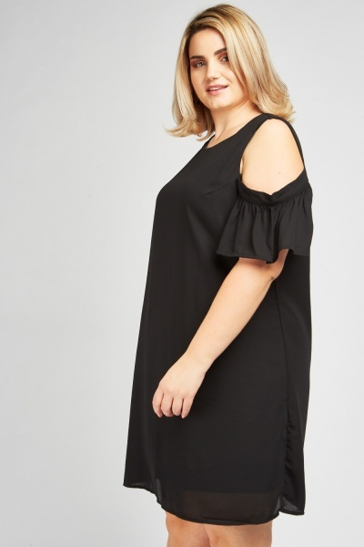 Cut Out Frilly Sleeve Shift Dress