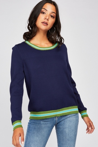 Striped Ribbed Edge Jumper