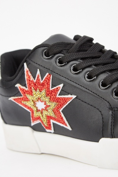 Encrusted Applique Side Sneakers
