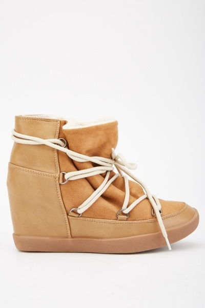 Tie Up Suedette Wedged Boots
