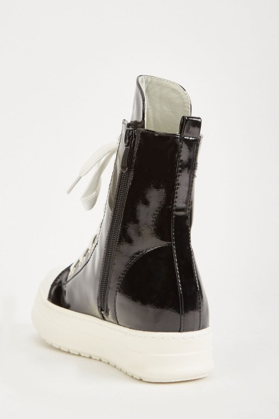 Vinyl Lace Up High Top Shoes