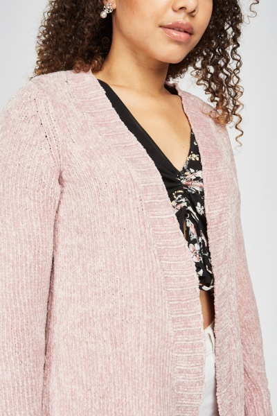 Chenille Cable Knit Back Cardigan