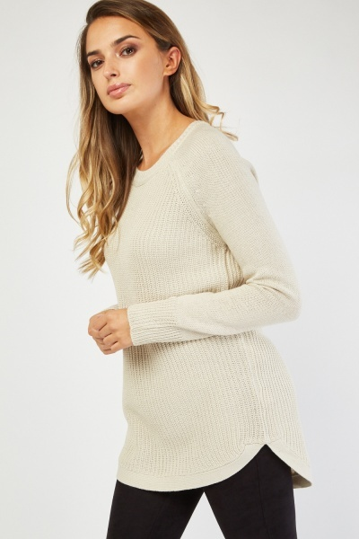 Herringbone Knit Panel Jumper