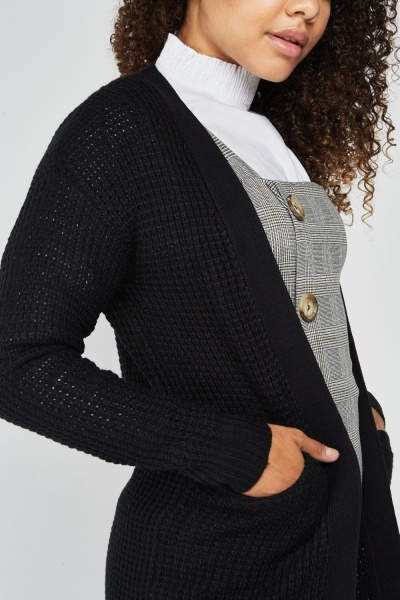 Open Front Herringbone Knit Cardigan