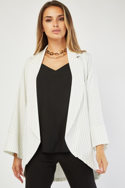 Pin Striped Lapel Front Blazer