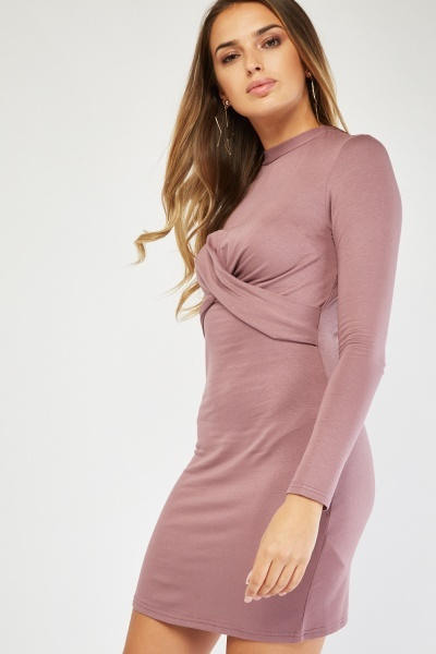 Twisted Mauve Bodycon Dress