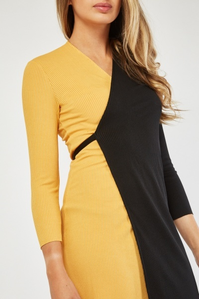Two-Tone Ribbed Wrap Dress