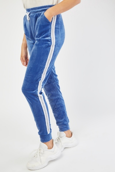 Velour Joggers With Lurex Side