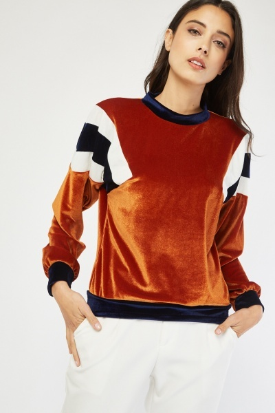 Colour Block Velveteen Sweatshirt
