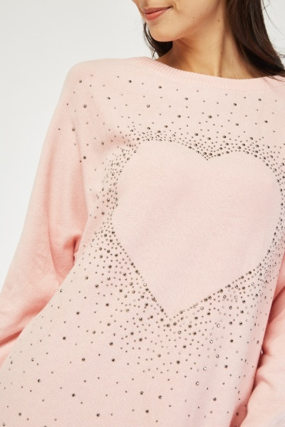 Encrusted Love Heart Knit Sweater