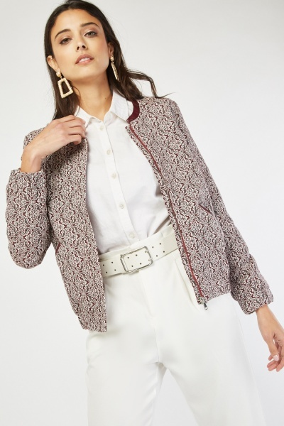 Faux Leather Trim Tapestry Jacket