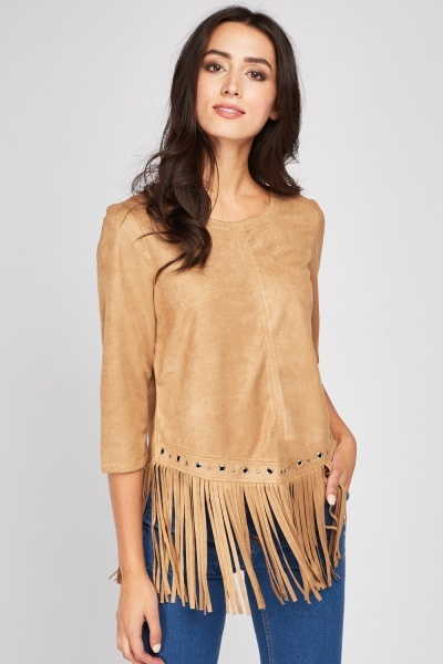 Fringed Eyelet Trim Suedette Top