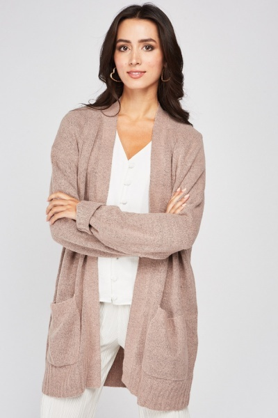 Front Pocket Long Sleeve Cardigan