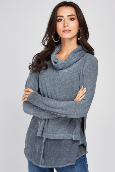 High Neck Wrap Knit Top