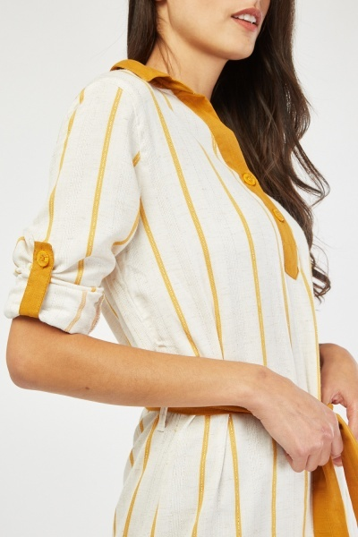 Metallic Stripe Collar Tunic Dress