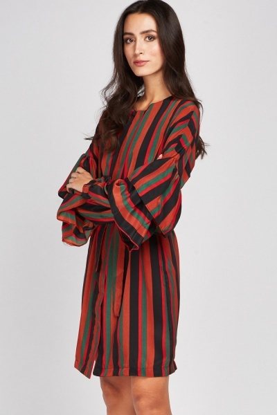 Ruffle Tiered Sleeve Stripe Dress