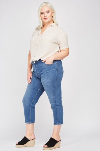 Straight Cut Cropped Jeans