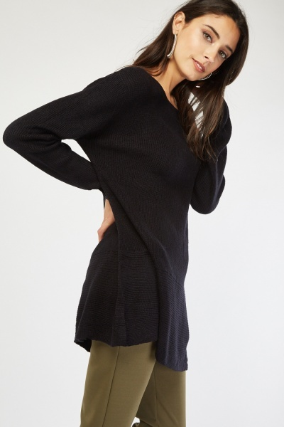 Zipper Trim Flared Knit Jumper