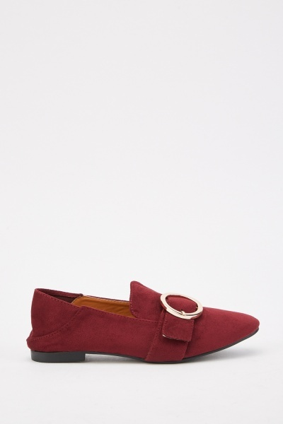 Fold-Over Back Buckled Loafers