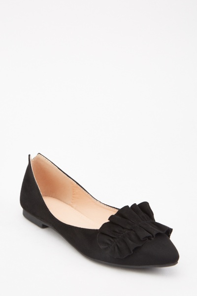 Gathered Ruffle Trim Flats