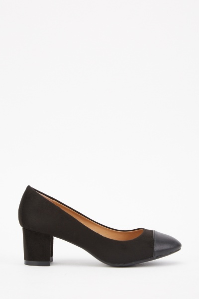 Suedette Contrast Block Heeled Shoes