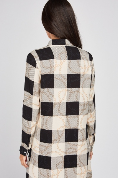 Checkered Chain Print Shirt Dress