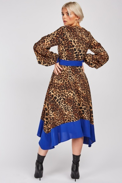 Colour Block Trim Leopard Print Swing Dress