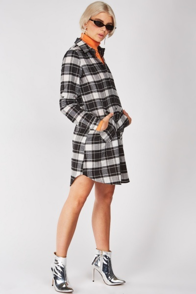Patch Side Pockets Checkered Shirt Dress