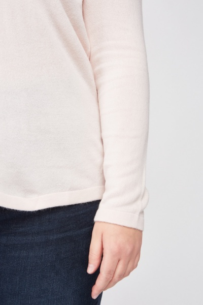 Ribbed Neck Fine Knit Sweater