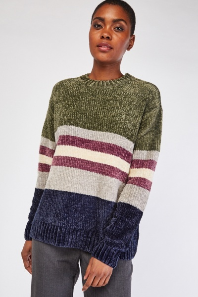 Stripe Chenille Knit Jumper
