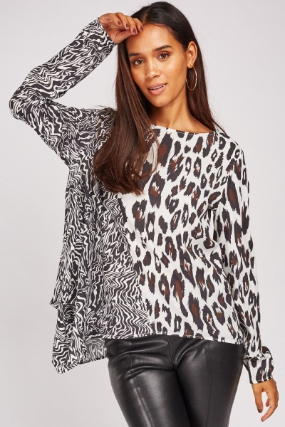 Animal Print Asymmetric Top