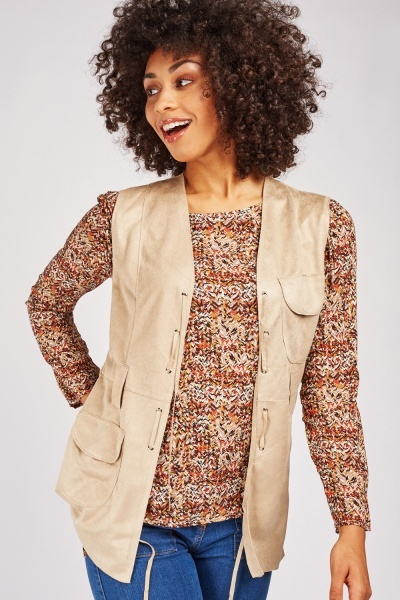 Eyelet Lace Up Trim Suedette Jacket