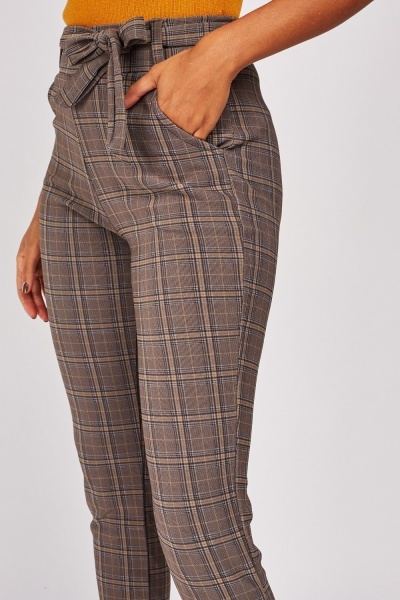Glen Check Slim Fit Trousers
