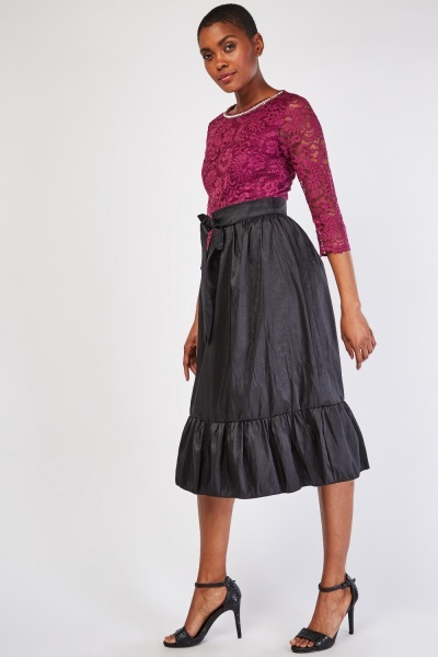 Lace Insert Midi Crinkle Dress