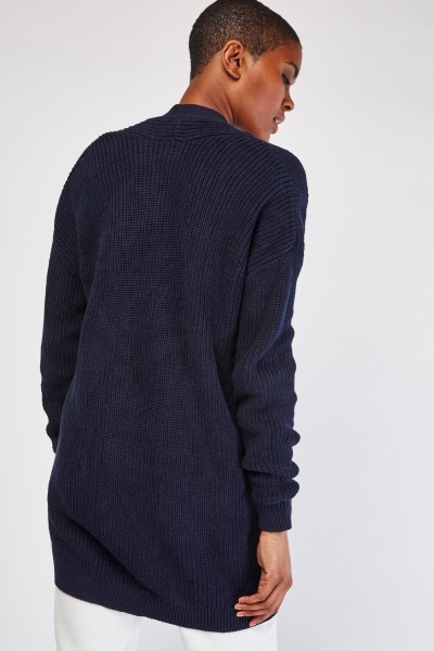 Open Front Herringbone Knitted Cardigan