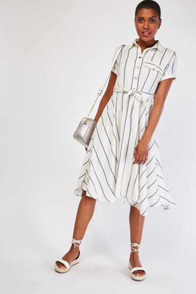 Shimmery Stripe Shirt Swing Dress