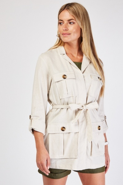 Belted Beige Safari Jacket
