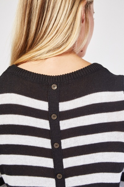 Buttoned Trim Back Striped Jumper
