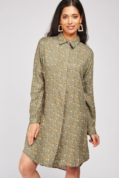 Calico Printed Shirt Dress